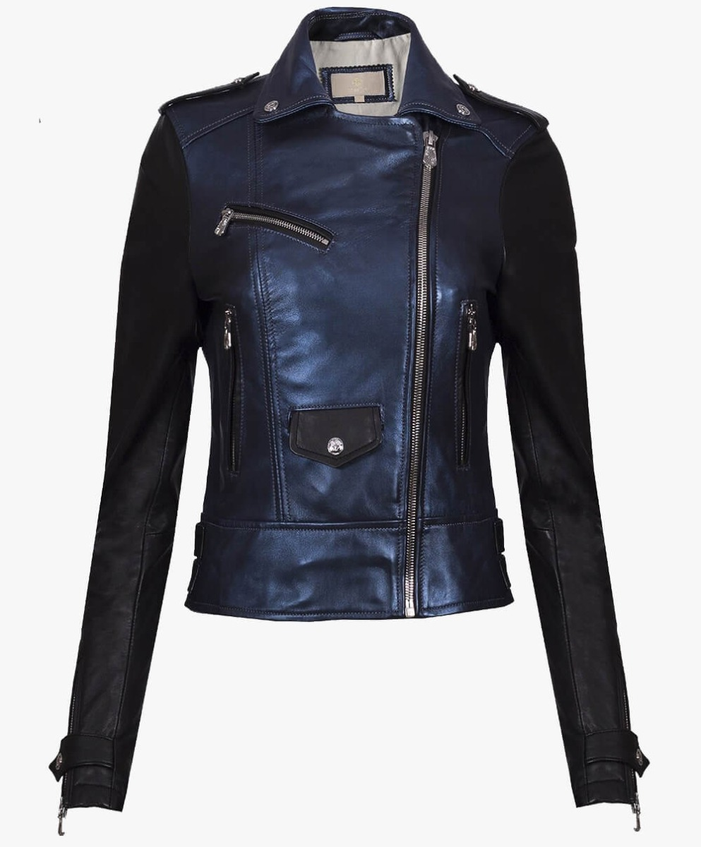 Leather Biker Jacket in Metallic Blue and Black