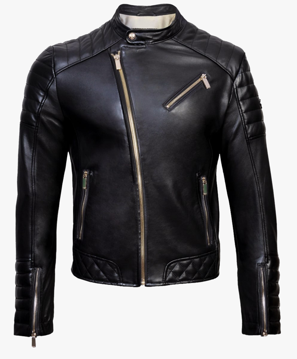 Leather Biker Jacket in Gold Trims