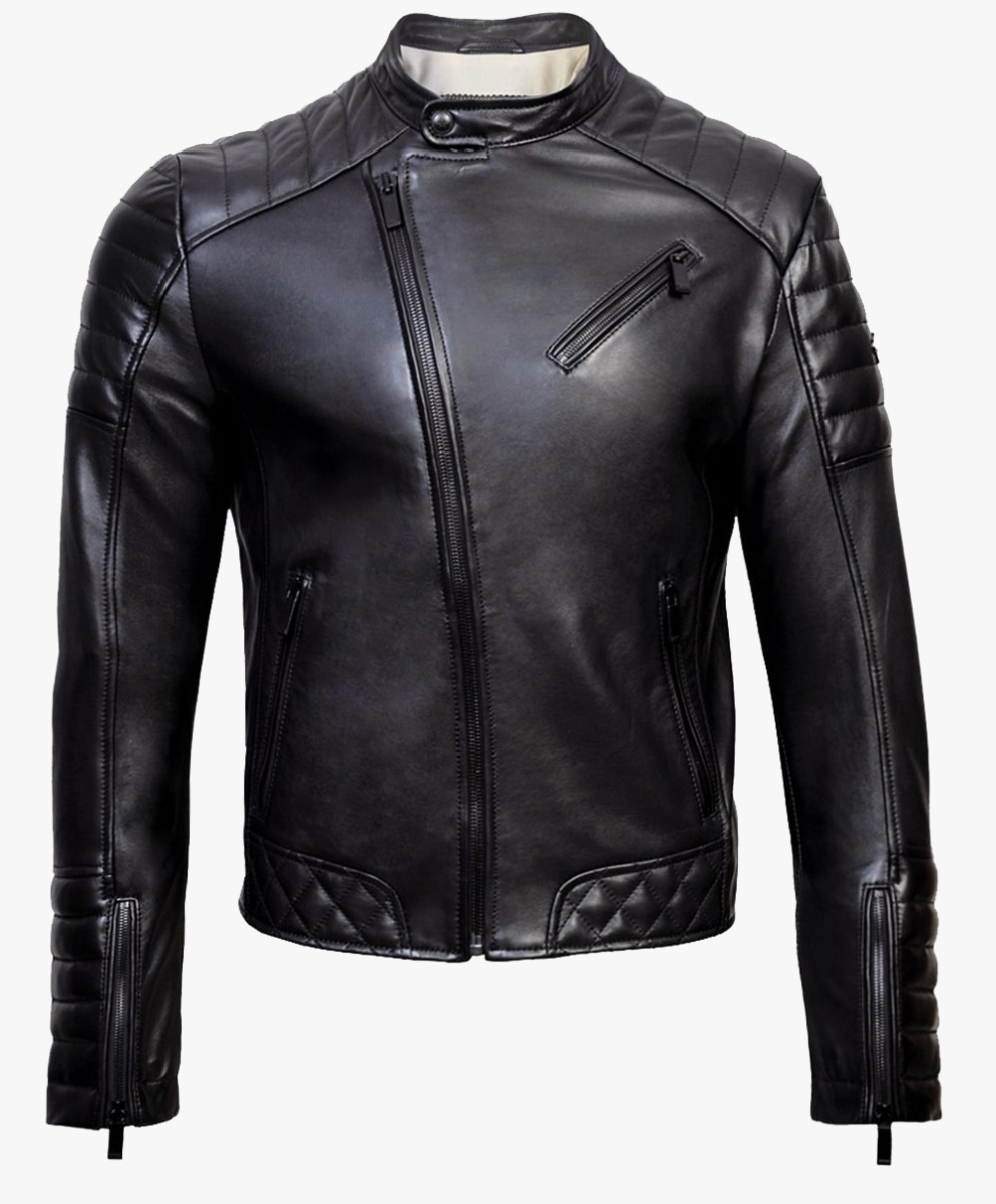 Leather Biker Jacket in Matt Black Trims