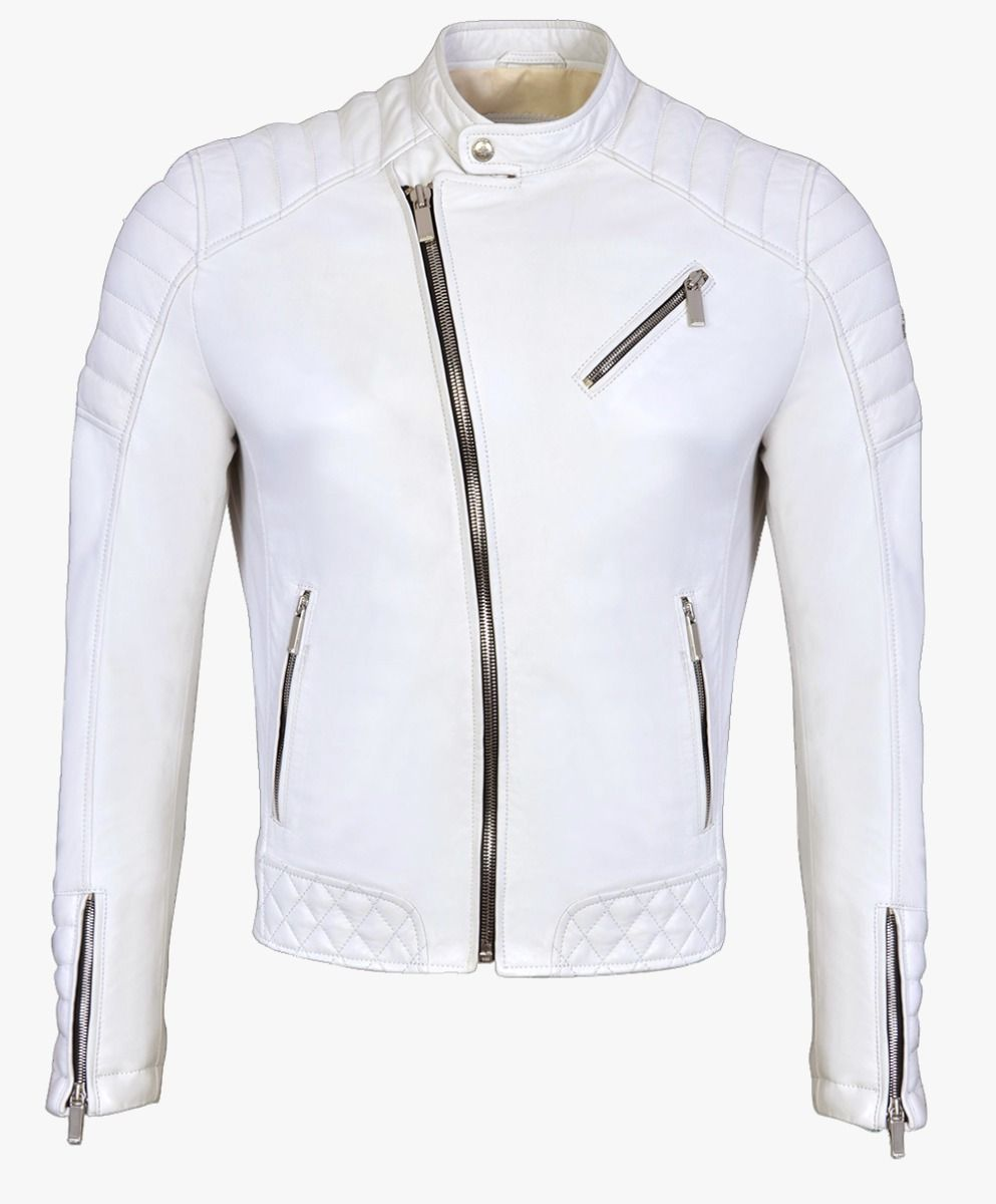 White Leather Biker Jacket in Pearl Trims