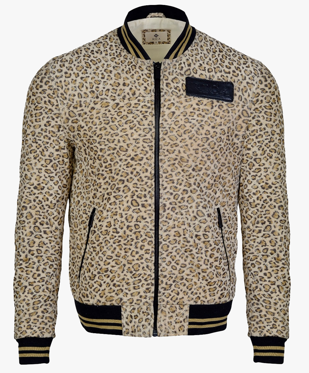 Leather Bomber Jacket in Leopard Print