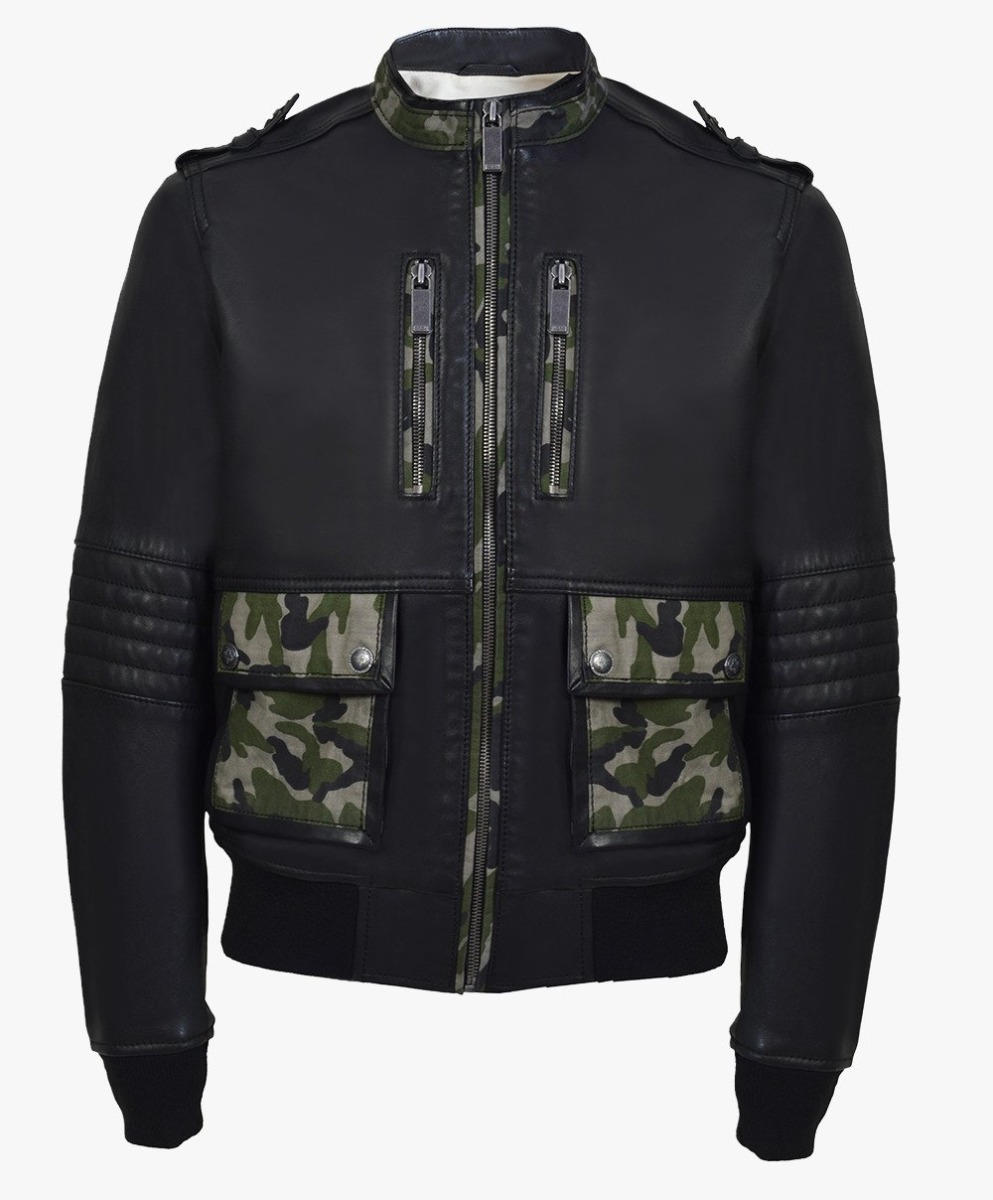 Leather Bomber Jacket with combination military material