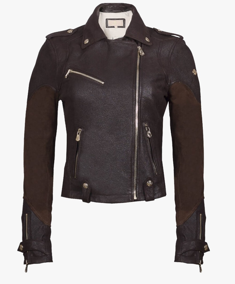Leather Biker Jacket in Chocolate Brown