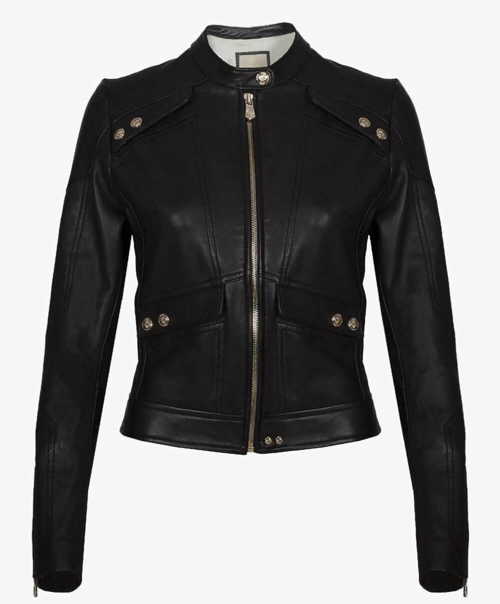 Classic Leather Jacket Flap Pockets Gold Trims