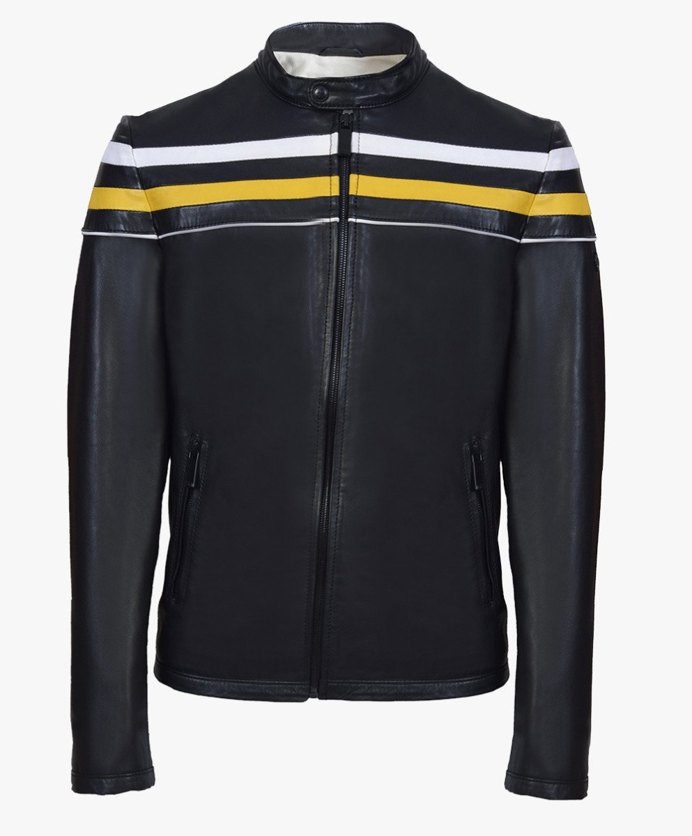 Leather Jacket with combination stripes