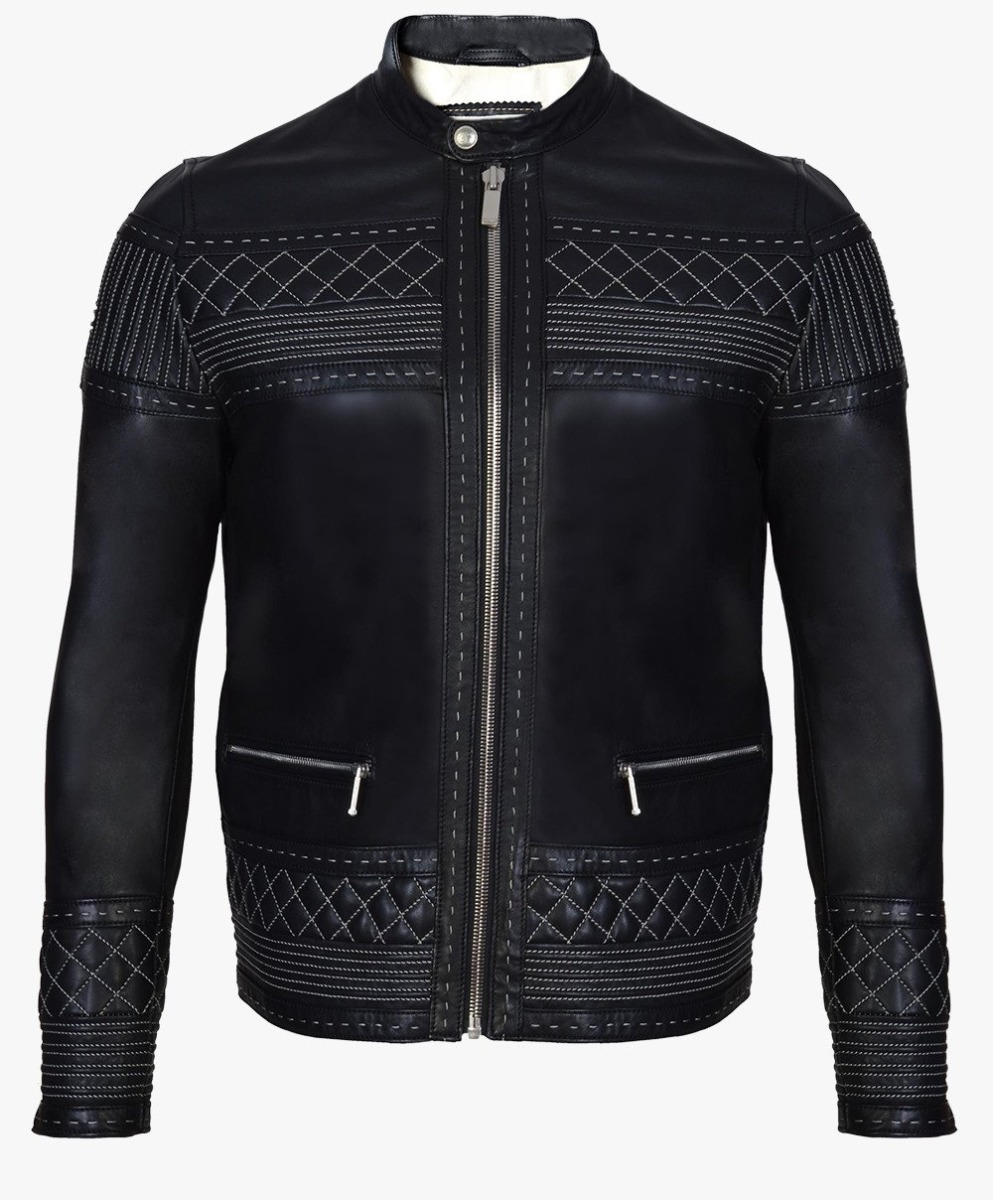 Leather Jacket with Contrast stitching