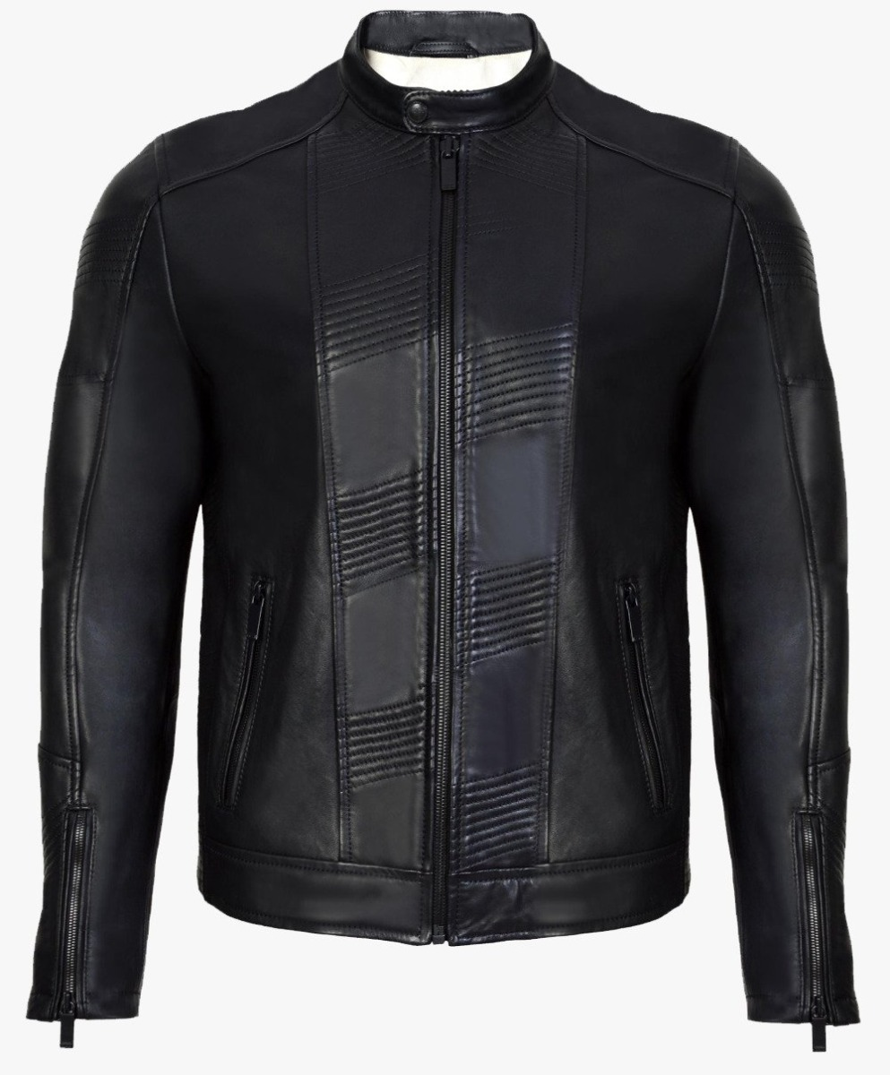 Leather Jacket with show stitches