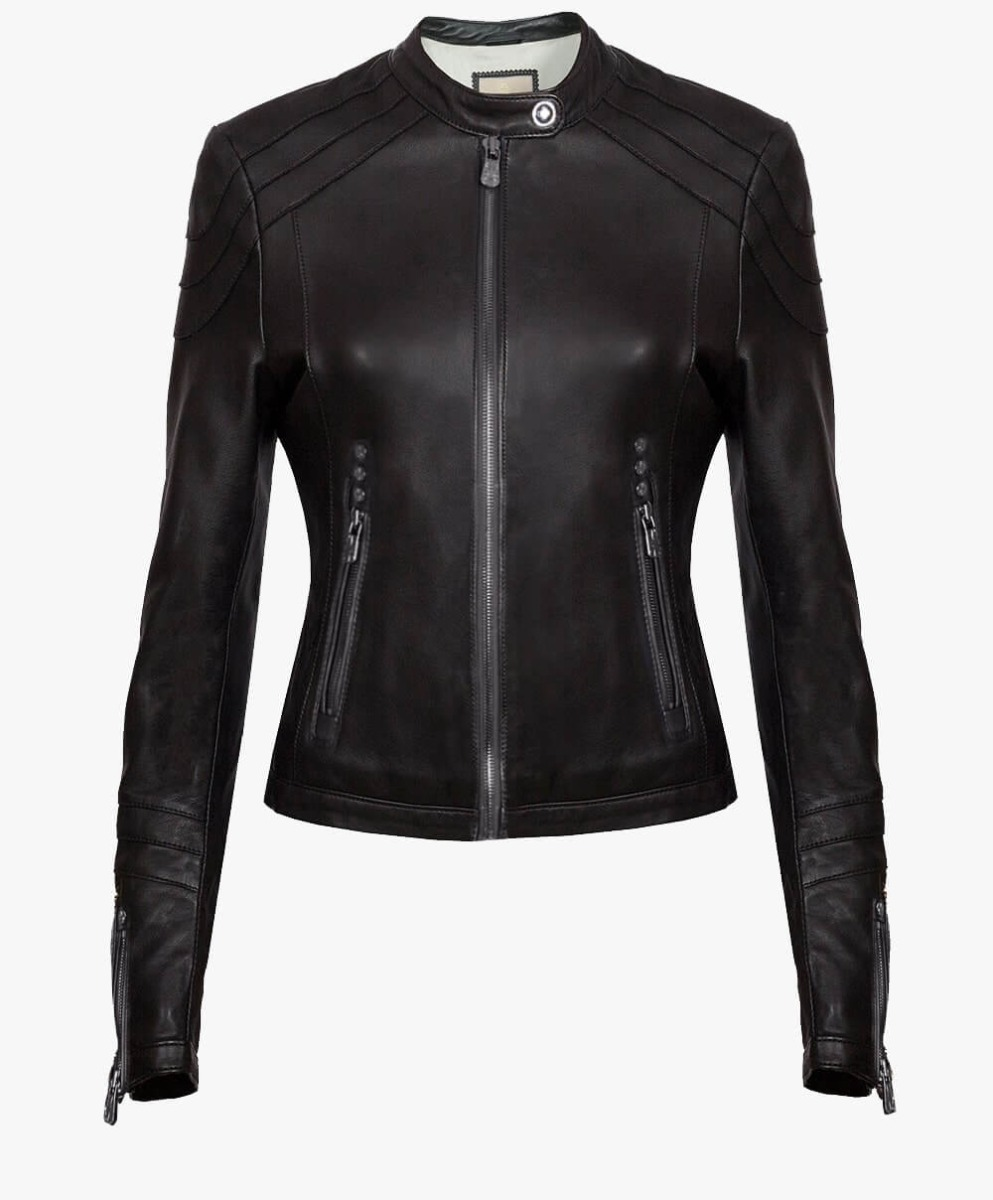 Classic Leather Jacket in Crystal Black Trims