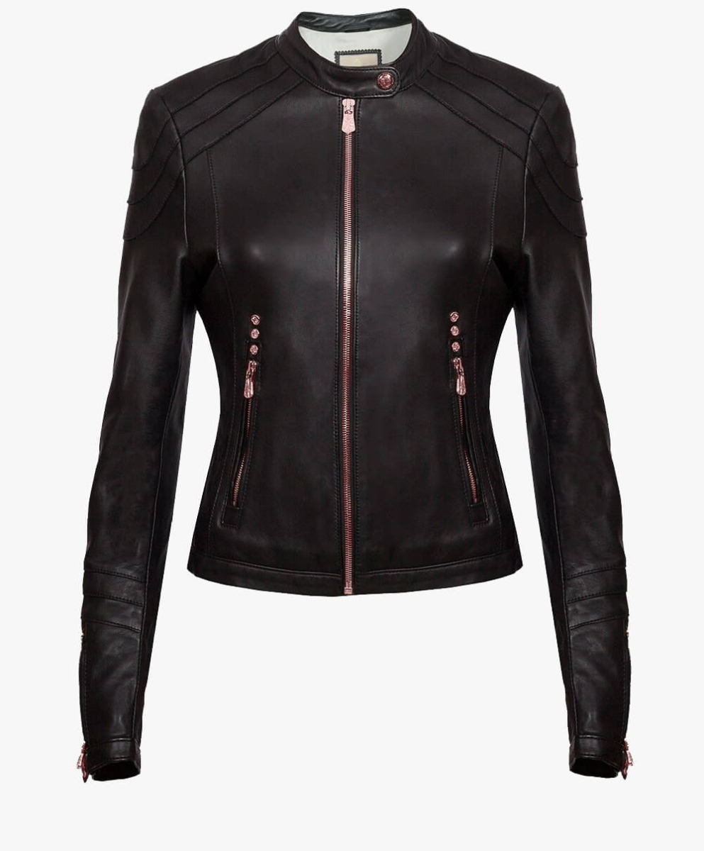Classic Leather Jacket in Rose Gold Trims