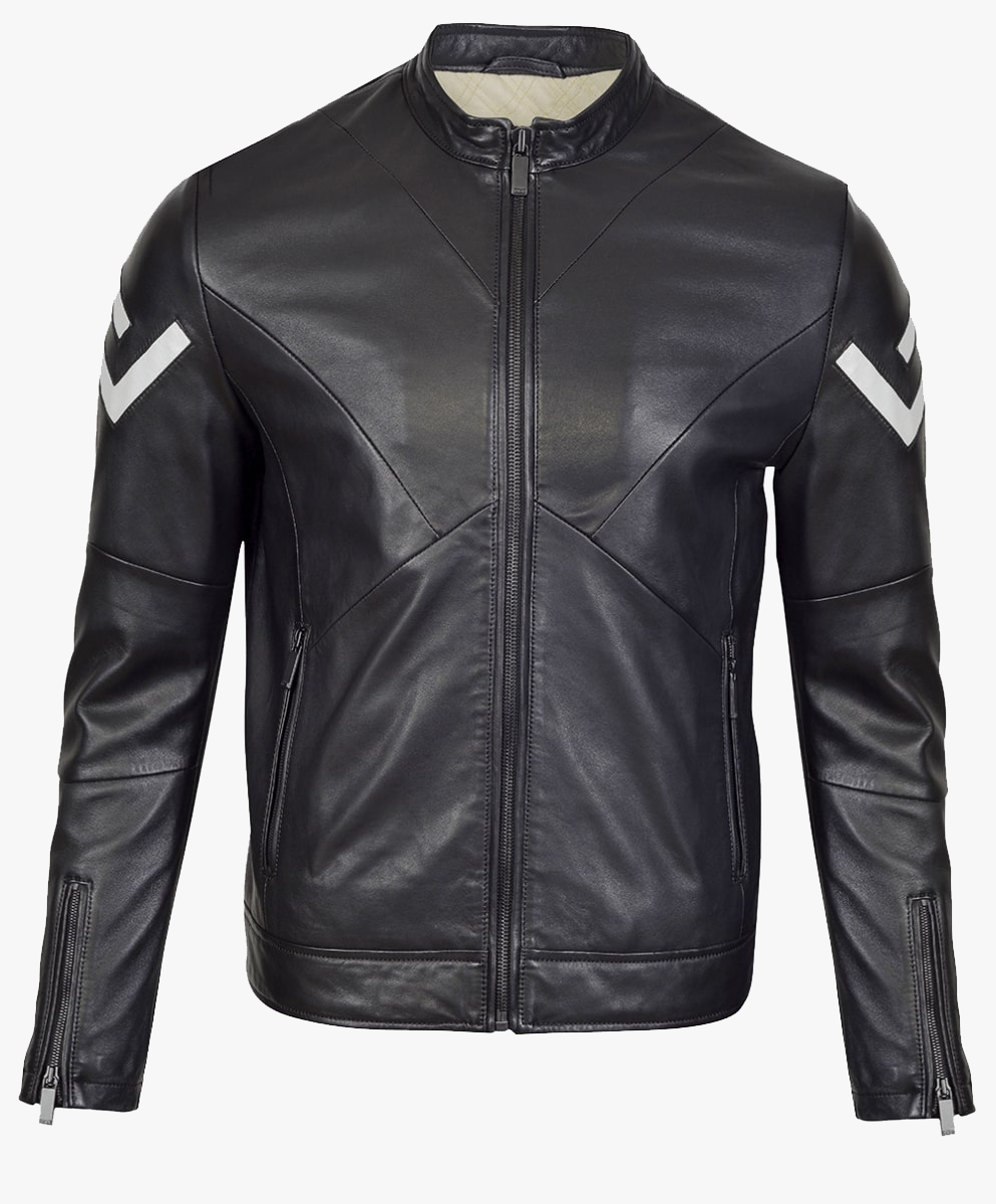 Monochrome Leather Biker Jacket in Matt Black Trims