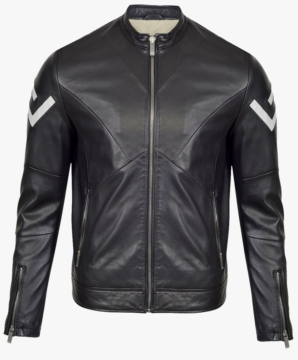 Monochrome Leather Biker Jacket in Pearl Trims