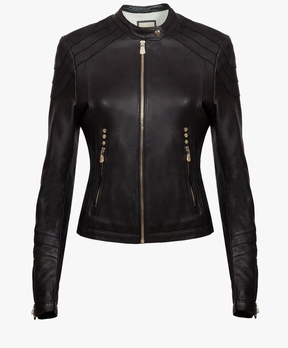 Classic Leather Jacket in Gold Trims
