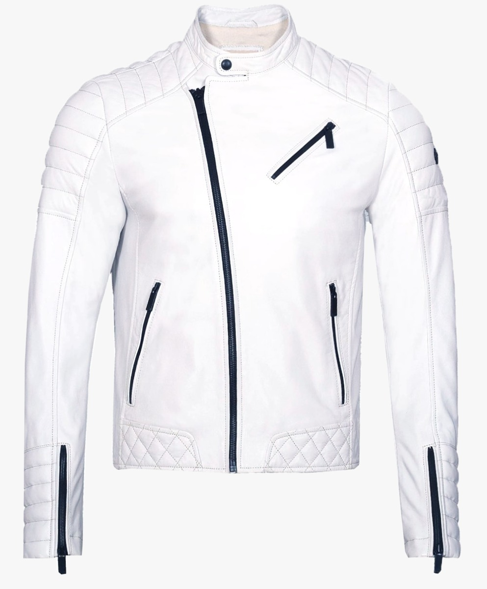 White Leather Biker Jacket in Matt Black Trims